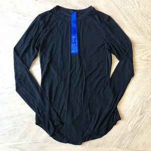 Kit and Ace Black Scoop Neck Long Sleeve Tee Shirt